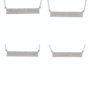 Jewelry - Sterling Silver Sport Mom Engraved Bar Necklace